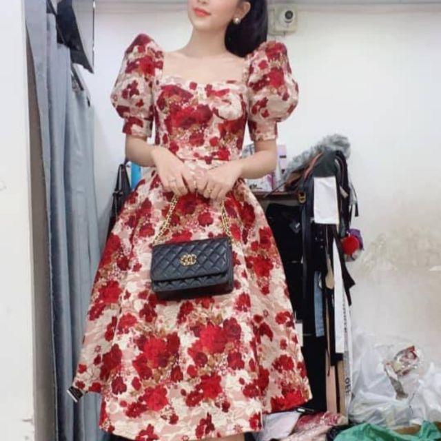 XẢ HÀNG NGHỈ BÁN từ 360k còn 290k Váy thiết kế tay bồng họa tiết hoa đỏ xinh xắn