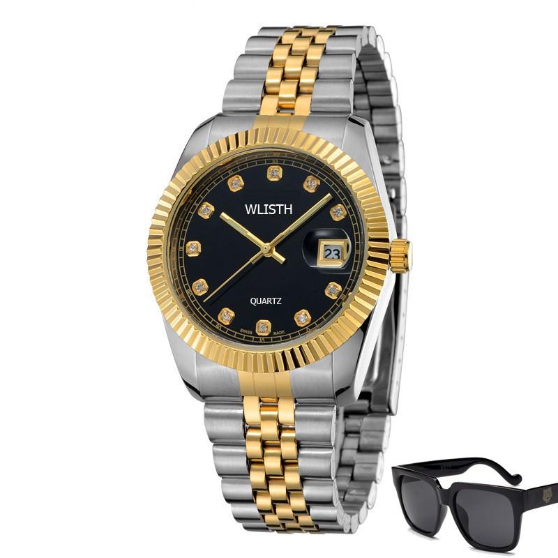 Đồng hồ nam Wlisth BI01 có lịch ngày dây thép không gỉ + Tặng kính mát nam