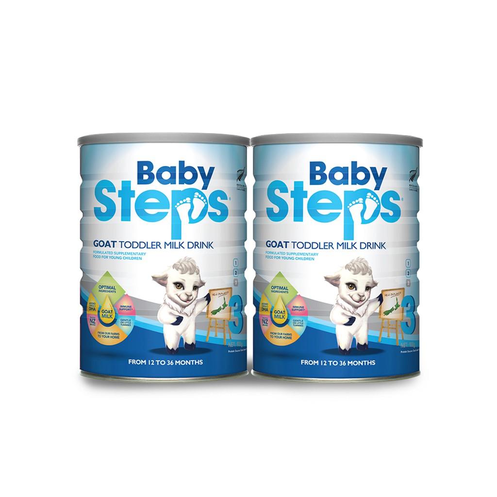 Combo 2 lon Sữa Dê Công thức Baby Steps Goat Toddler Milk Drink số 3 900gr.