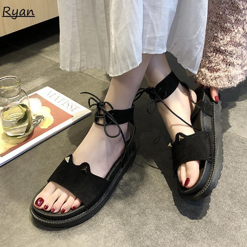 Sandals female cross straps sponge cake platform shoes