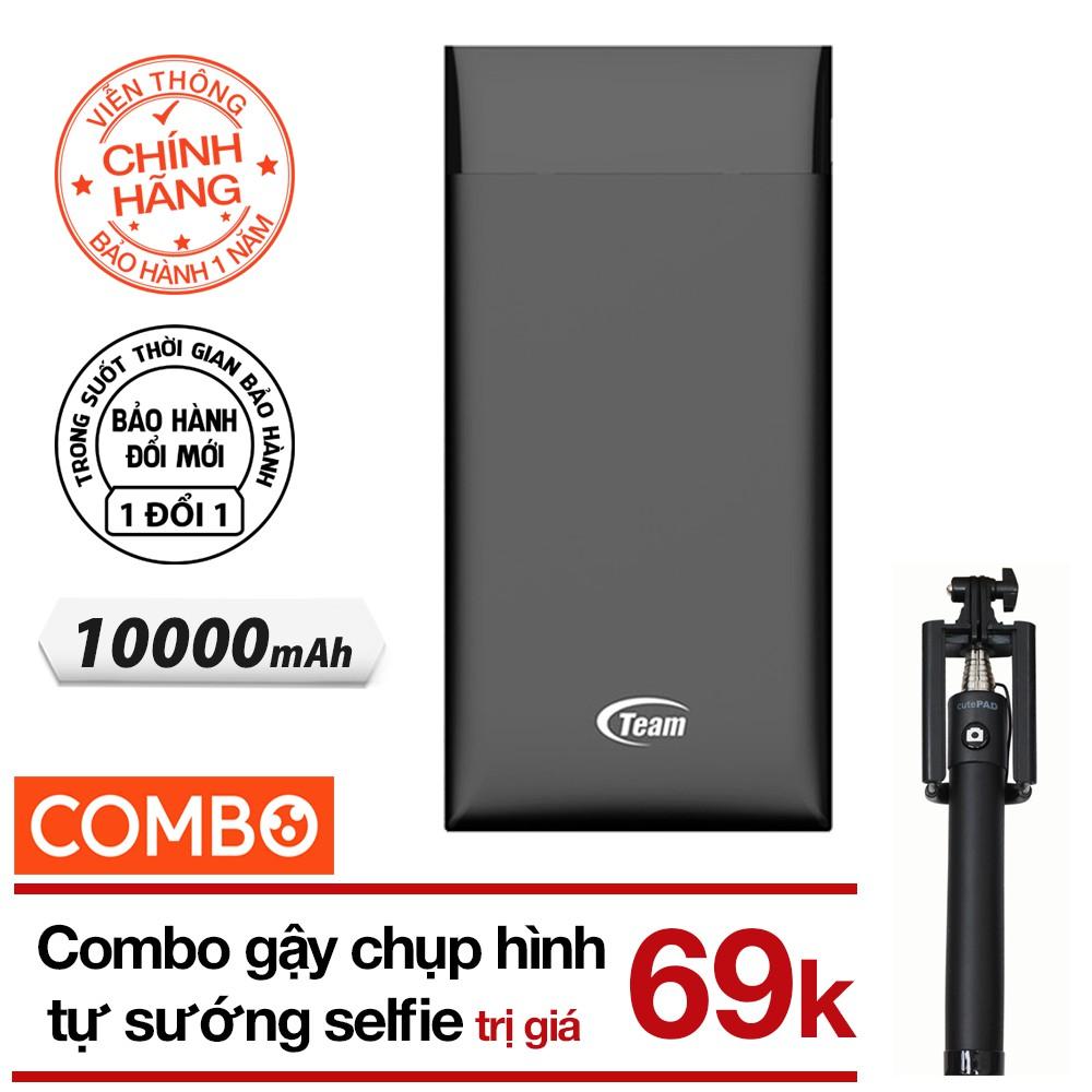 Pin sạc dự phòng 10000mAh Polymer TEAM WP10000 (Đen - Chính hãng) + Gậy chụp hình selfie (màu ngẫu n