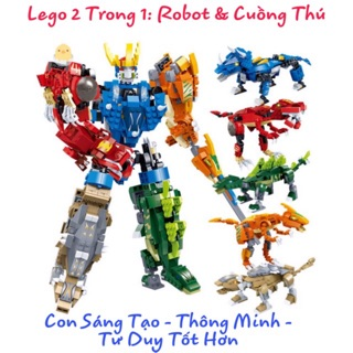 [FLASH SALE] Lego Robot Goodi Biến Hình Khủng Long Lắp Ghép Thông Minh 2 Trong 1