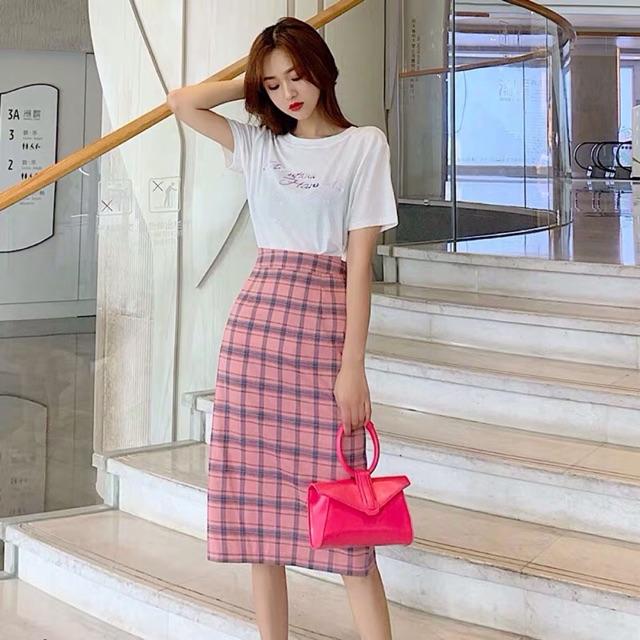 Order) áo phông basic + chân váy dáng dài kẻ caro ulzzang | Shopee Việt Nam