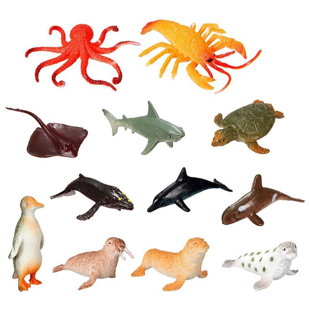 Set 12 tượng động vật biển đồ chơi bằng nhựa
