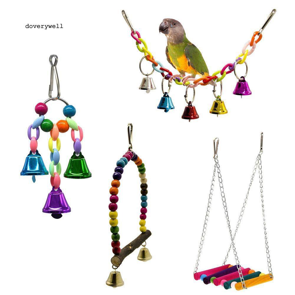Set 4 đồ chơi treo thiết kế nhiều màu bắt mắt sống động cho chim vẹt