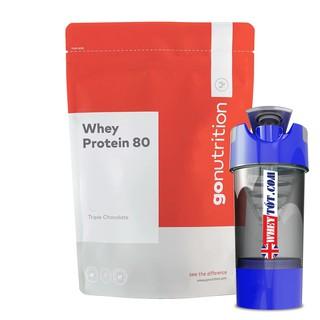 Whey Protein 80 – Go Nutrition – 2,5 kg 100 lần dùng & Bình lắc whey Concentrate tăng cơ giảm mỡ dùng cùng bcaa