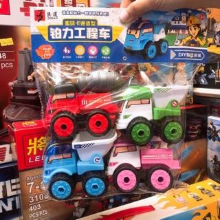 Nhiều loại 💞💞 Set 4 Mô Hình Xe Nhựa Xe rác , cứu hoả , xe bồn , xe thang , xe tải …