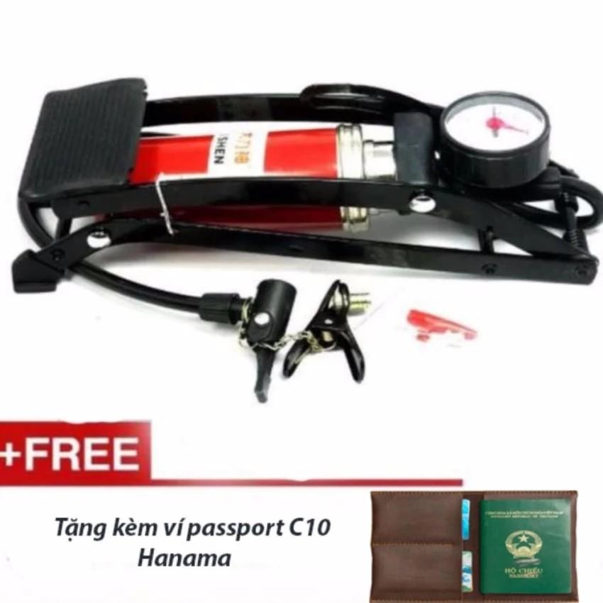 [Mua 02 cái free ship] Bơm hơi đạp chân xe đạp,xe máy, ô tô tặng kèm ví passport C10 Hanama