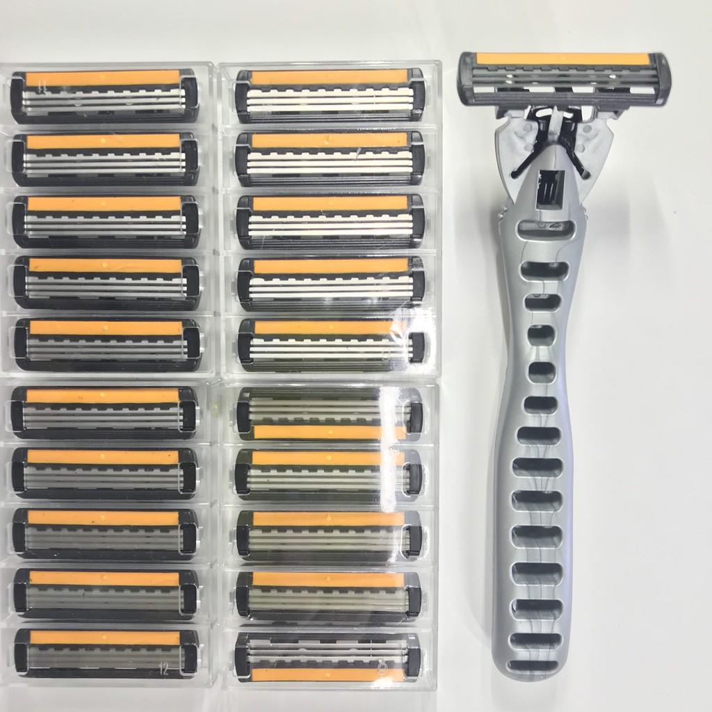 Bộ dụng cụ cạo râu 3 lưỡi 1 cán kèm 20 đầu dao thay thế Uncle Bills AG3641 | Shopee Việt Nam