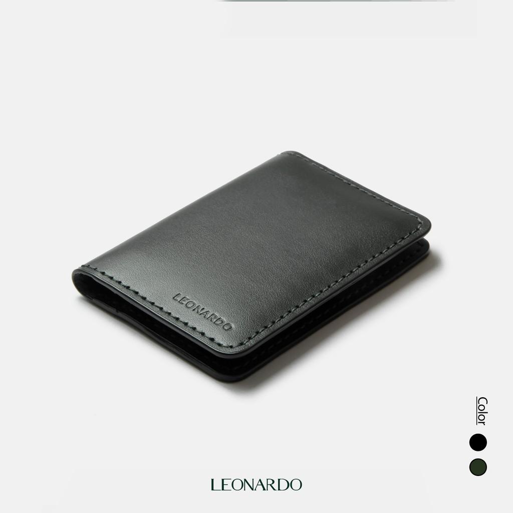 Ví nam đựng Card Feasty da thật thương hiệu Leonardo