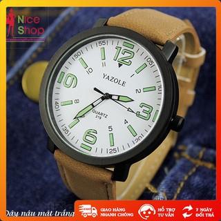 Đồng hồ Yazole cặp dây da thời trang mặt kính chống xước thumbnail