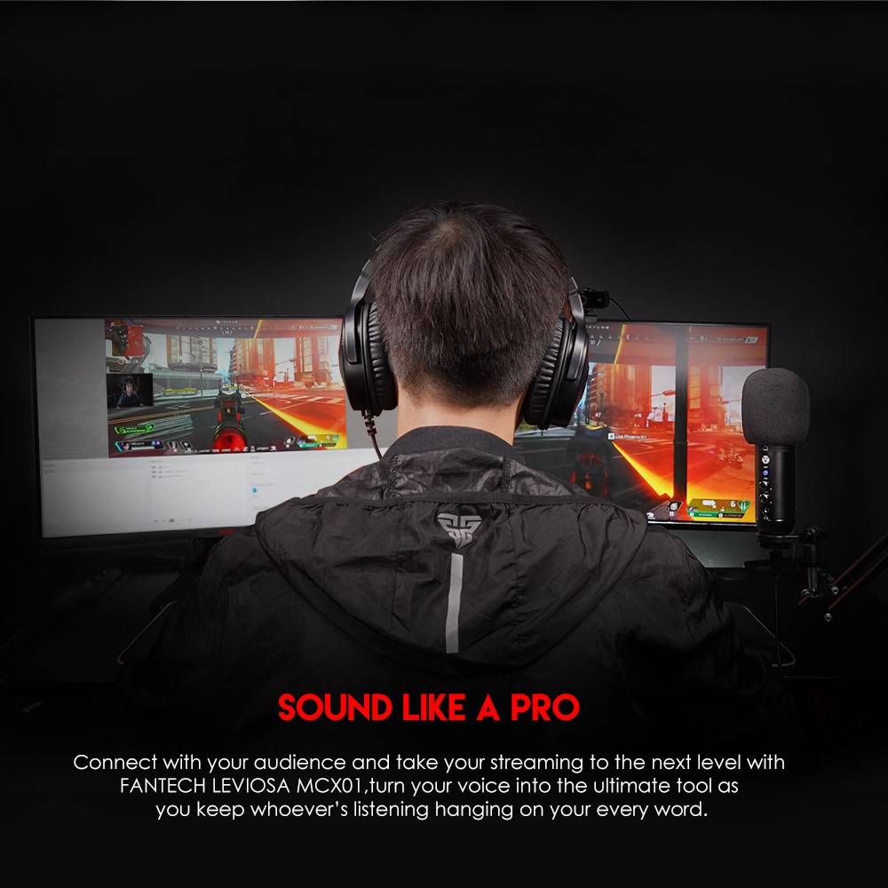 Micro Thu Âm Livestream Chuyên Nghiệp Fantech MCX01 LEVIOSA LED RGB Âm Thanh Chất Lượng Cao - Hãng Phân Phối Chính Thức