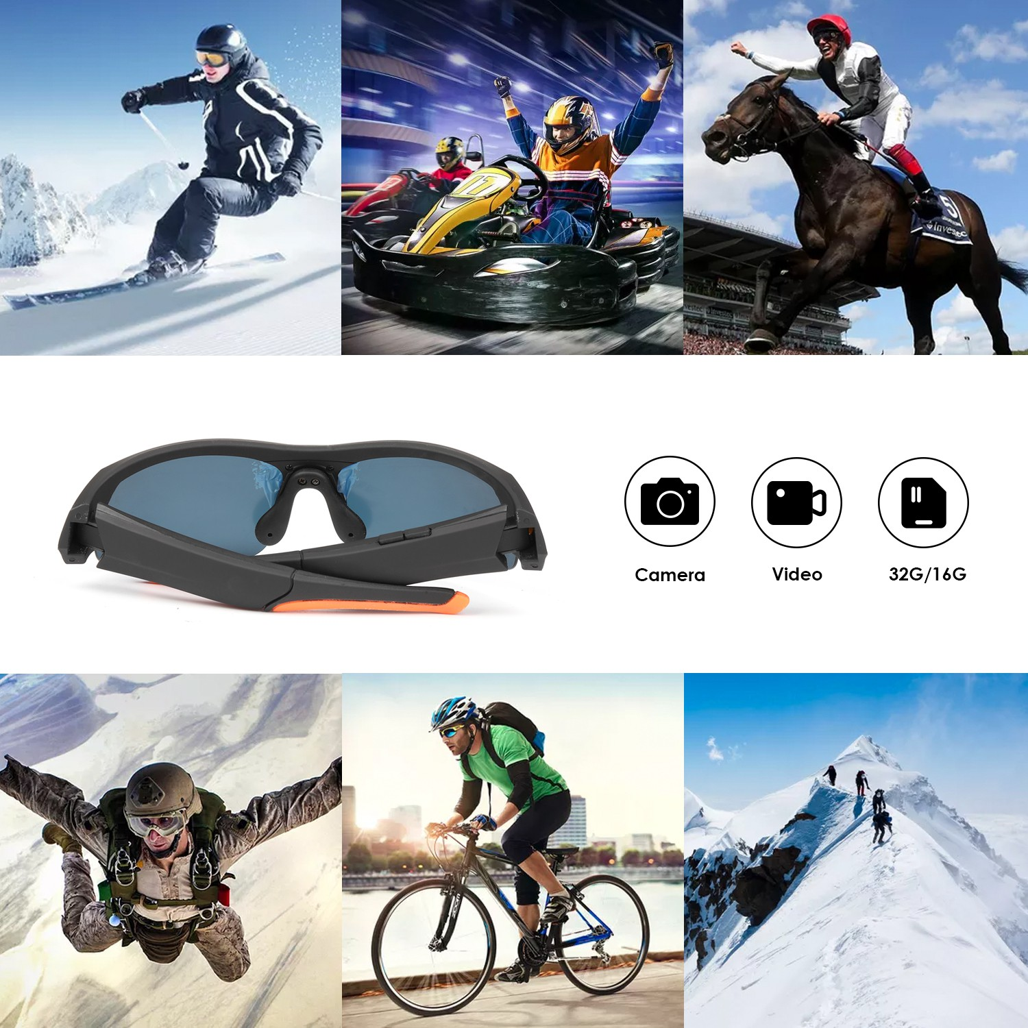 Multifunctional Sunglasses Camera with Bluetooth Headset HD 1080P Camcorder Built-in 16G/32G Memory Waterproof Outdoors