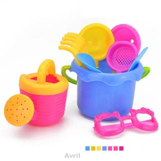9pcs/Set Toy Set Beach Bucket Colorful Funnel Glasses Kettle Plastic Sand Play Seaside Simulation Random Color
