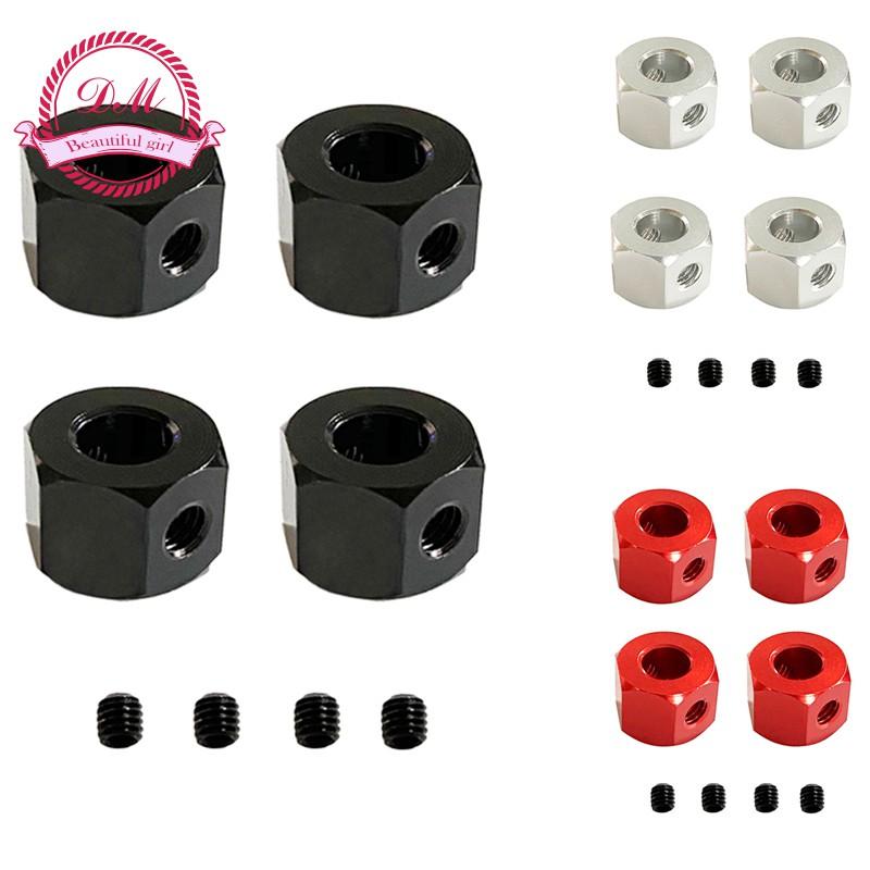 4PCS 5mm to 12mm Metal Combiner Wheel Hub Hex Adapter for WPL D12 B14 B24 MN D12 B14 B24 RC Car Spare Parts Black