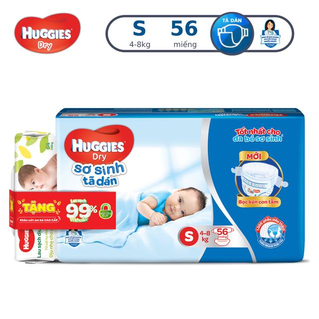 Tã dán sơ sinh Huggies Dry S56