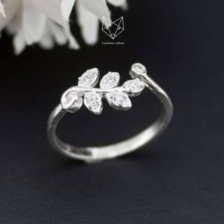 Nhẫn Bạc Nữ S99 CaoBac Silver Dạng Hở Họa Tiết Lá Cây Oliu Xinh Xắn thumbnail