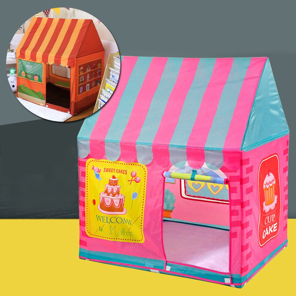 Princess Castle Kids Dessert House Playing Game Tent Colorful Flags Baby Toy