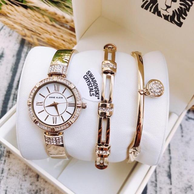 Set Đồng hồ nữ Anne Klein AK màu gold và rosegold