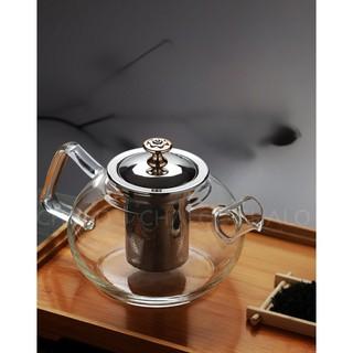 Bình trà thủy tinh chịu nhiệt dáng tròn nắp và lọc trà inox 1000ml