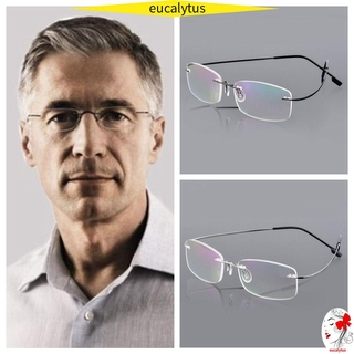 🌸EUTUS🌸 Degree Eyeglass Unisex Rimless Reading Glasses Ultralight Rectangular Health Care Elder Spectacles Memory Titanium/Multicolor