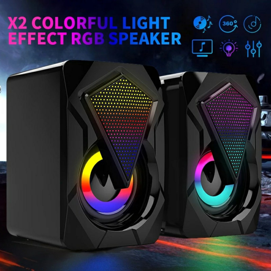 Loa vi tính có dây Bass Strereo Siêu Trầm có hệ thống đèn Led nhiều màu sắc dành cho laptop, máy tính để bàn