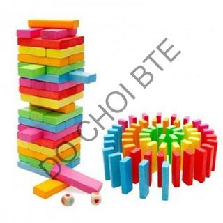 Rút gỗ màu 48 thanh loại lớn – Domino màu cho bé