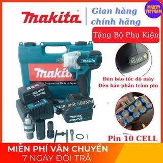 [Chinh Hang] Máy siết bulong Makita 72v, 2 pin, đầu 2 trong 1, 100% dây đồng, không chổi than, TẶNG bộ phụ kiện như hình