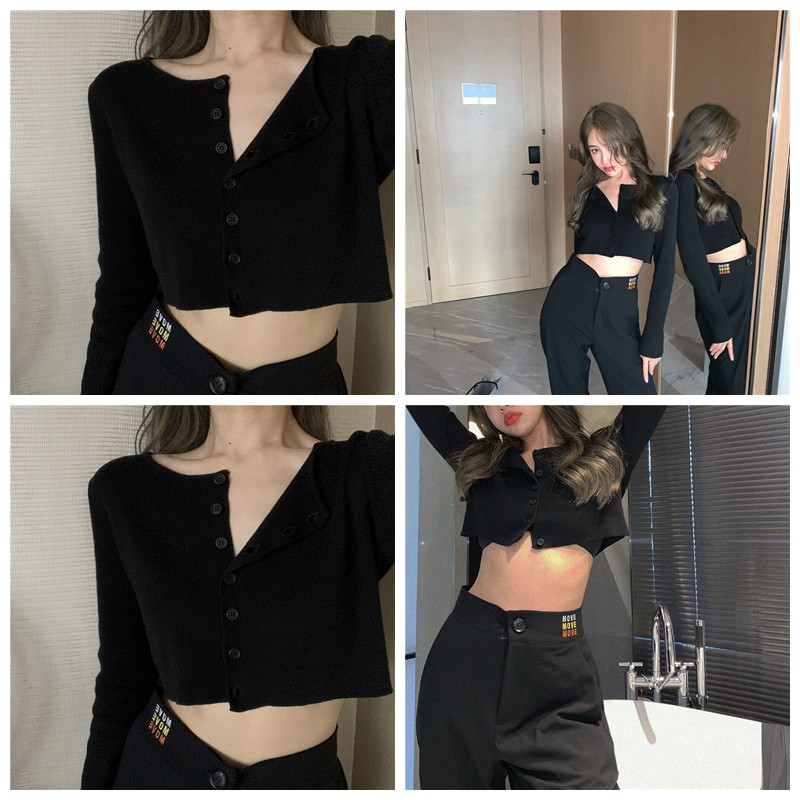 korean solid color long sleeve knitted shirt crop tops