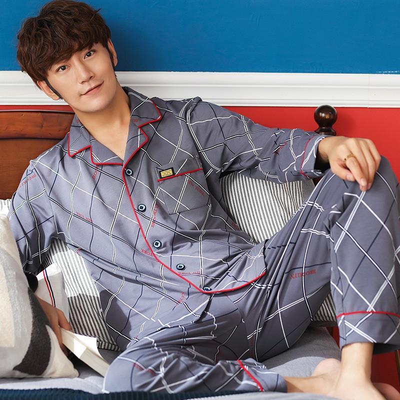 Đồ bộ Pijama nam dài tay, vải cotton 100% thoáng mát về mùa hè, ấm áp về mùa đông, họa tiết kẻ sọc nam tính, khỏe khoắn