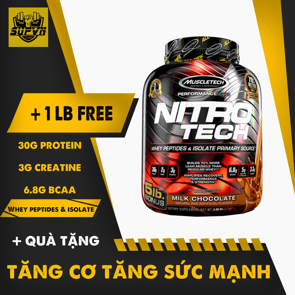 [QUÀ TẶNG] Nitro Tech 5Lbs sữa tăng cơ Muscletech Thực phẩm bổ sung tập gym chính hãng giá tốt.