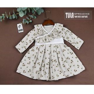 Váy Đầm Bé Gái Vải Thô Cào Bông Hàn Họa Tiết Hoa Nâu Thu Đông Cho Bé