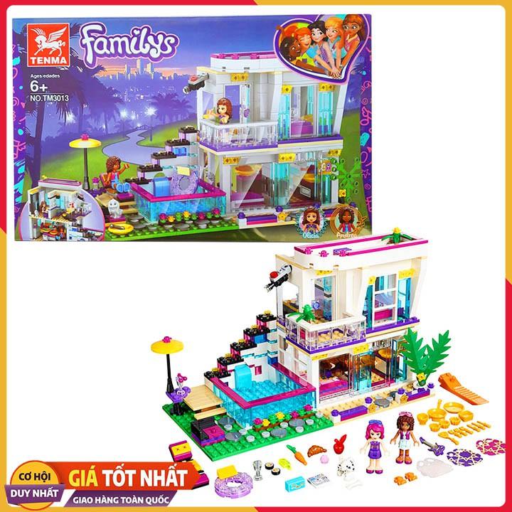 Bộ Xếp Hình Lego Friends Biệt Thự Cao Cấp Của OLICIA và Andrea TM 3013. Lego Xếp Hình Đồ Chơi Thông Minh Cho Bé