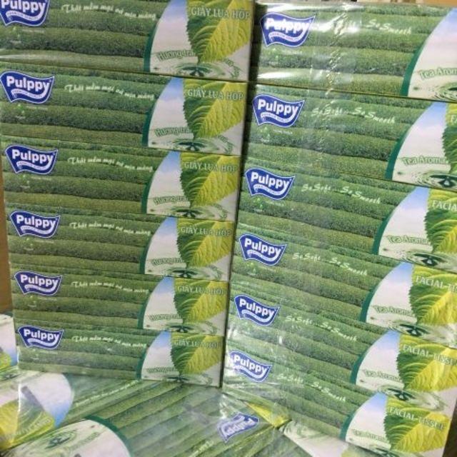 Khăn giăys lụa pulpy 100 tờ hương trà xanh