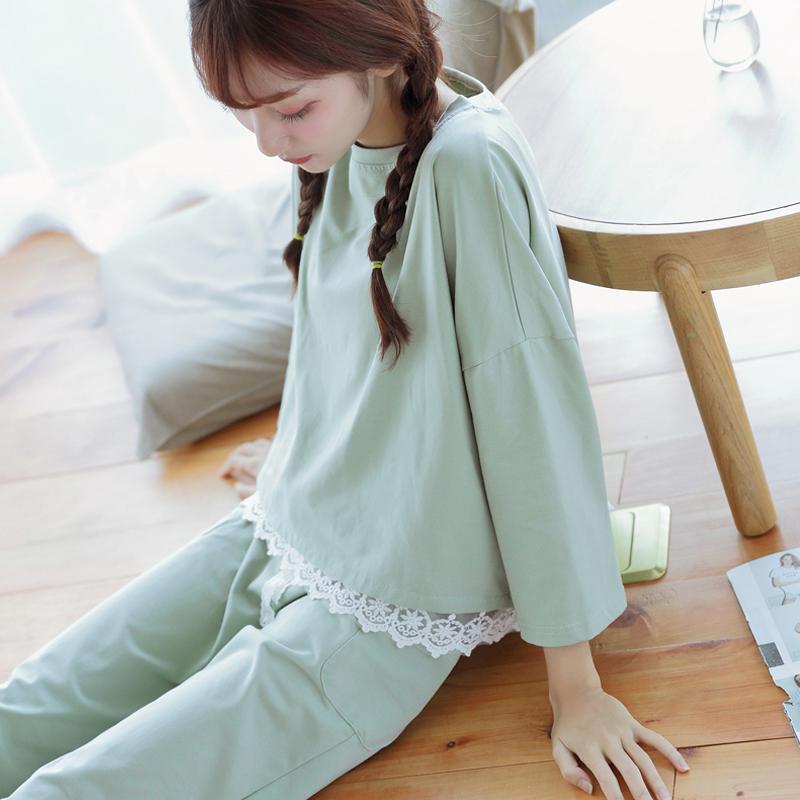 ❏Pajamas Women's Spring seven-sleeved Korean version fresh student cute sweet princess thin autumn and summer home wear