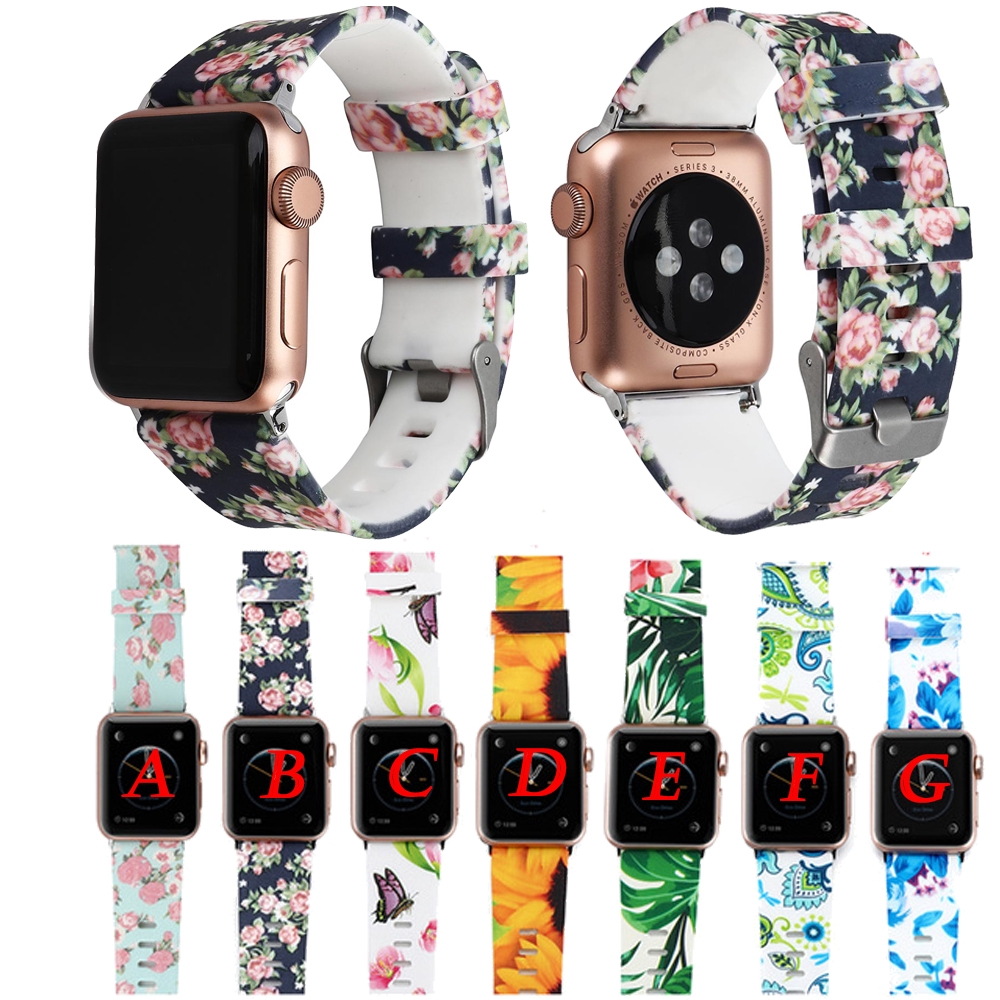 Floral Flower Bands For Apple watch Series 4 3 2 1 38mm 42mm