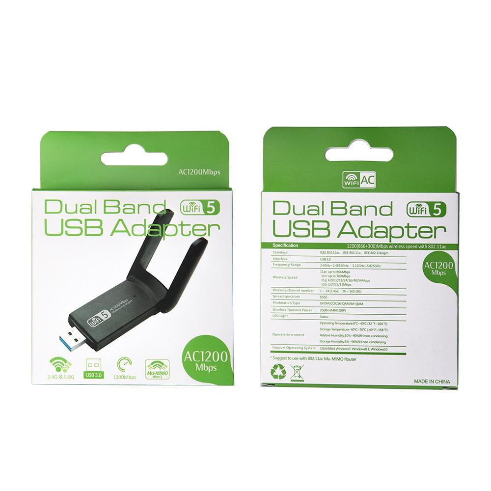 USB Thu Phát Wifi 1200mbps tốc độ cao 2 râu ăng ten kép cho Laptop PC 2.4 / 5g cổng cắm usb 3.0 RTL8812BU