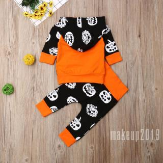Mu♫-Kids Toddler Baby Boy Girl Hooded Tops Long Pants Outfit Halloween Clothes 0-24M