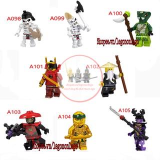 Minifigure Ninjago thế hệ SS10 Lego Overlord Master Wu Samurai Nya xương A098-105