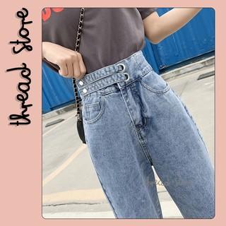 Quần Jeans nữ CẠP CAO 2 ĐAI CÀI NGANG mẫu mới Quần jeans bò hàng order nội địa Trung Quốc NO.122