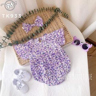 Bodysuit Body hoạ tiết hoa nhí màu tím kèm turban nơ thumbnail