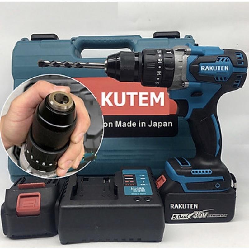Bộ máy khoan pin RAKUTEN 36V khoan tường, khoan sắt, khoan bê tông máy 2 pin, đảo chiều và mũi khoan-Chính Hãng- New