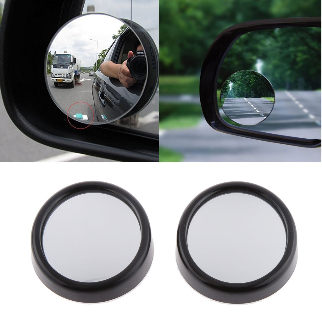 2x Universal 360 Wide Angle Convex Rear Side View Blind Spot Mirror for Car