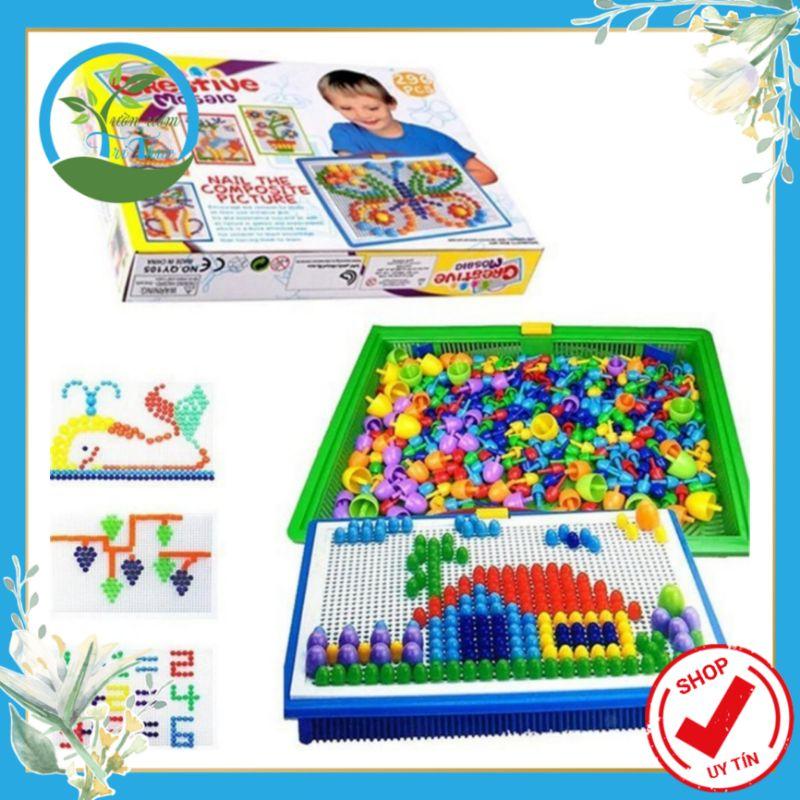 Đồ chơi ghép hình hạt thông minh 296 hạt nấm bé thỏa sức sáng tạo