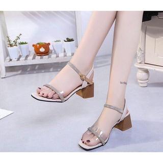 [Mã FASHIONGREEN94 giảm 10% tối đa 30k đơn từ 99k] [ẢNH THẬT] Giày cao gót sandal 5cm bản trong phối xoàn thumbnail