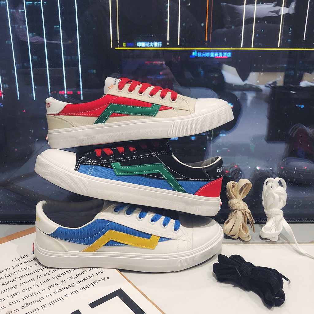 Low-necked Korean sports shoes with color schemes for men