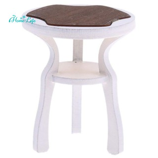1:12th Dollhouse Miniature Furniture Wooden Round Chair Stool Model Toy
