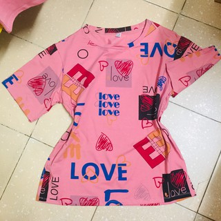 Áo thun áo phông nữ Freesize oversize họa tiết in Love (ảnh cận chất)