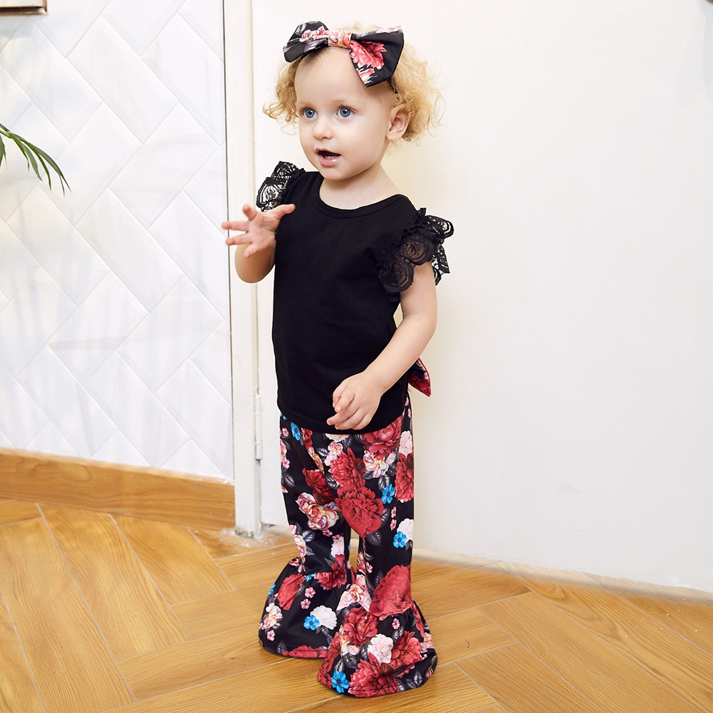 391bbbe54 Summer Baby Girls Black Lace Tops Bell-Bottoms Long Printed Trousers Hair  Band Jumpsuit Romper Set