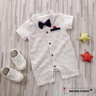 HGL♪Newborn Baby Boys Gentleman Bow-Tie Clothes Stripe Romper Bodysuit Formal Outfit